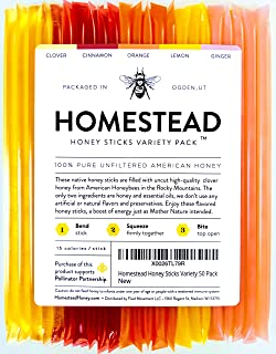 Homestead Flavored Honey Sticks (50 Pack), 5 Flavors Include Clover, Cinnamon, Orange, Lemon, Ginger, Pure American Honey ...