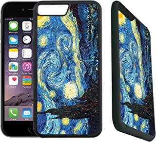 [TeleSkins] - Rubber Designer Case For iPhone 7 Plus/iPhone 8 Plus - Vincent Van Gogh The Starry Night - Ultra Durable Slim Fit, Protective Plastic with Soft RUBBER TPU Snap On Back Case/Cover.