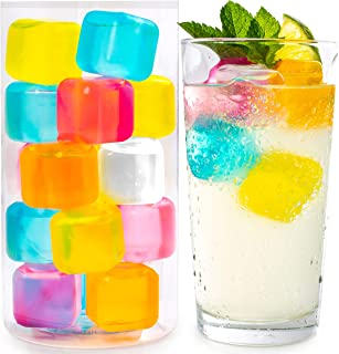 Reusable Ice Cubes For Drinks - Chills Drinks Without Diluting Them - Made From BPA Free Plastic - Refreezable, Washable, Quick And Easy To Use - For All Beverages - Pack Of 20 With Storage Tube
