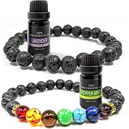 Prezence Aromatherapy Diffuser Anxiety Lava Rock Chakra 8mm Bead Bracelet with 10ml Lavender and Peppermint Essential Oils for Women Men