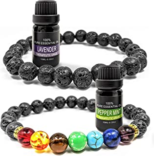 Sponsored Ad - Prezence Aromatherapy Diffuser Anxiety Lava Rock Chakra 8mm Bead Bracelet with 10ml Lavender and Peppermint...
