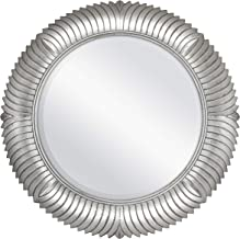 MCS 68952 31 Inch Round Silver Feathered Wall Mirror