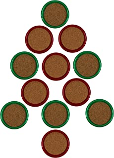 Gessner Thirsty Christmas Coasters With Cork Centers - Green And Red - 12 Coasters