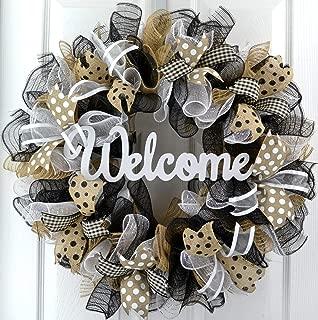 Welcome Wreaths Front Door | Burlap Everyday Year Round Outdoor Front Door Wreath; Black Jute White