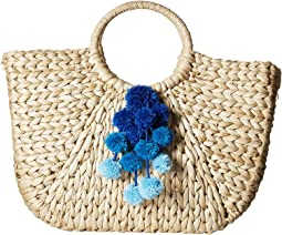 Hat Attack Round Handle Tote w/ Pom Poms