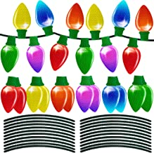 90shine 24 Pieces Christmas Car Refrigerator Decorations Reflective Bulb Light Shaped Magnets Ornaments Set Xmas Holiday C...