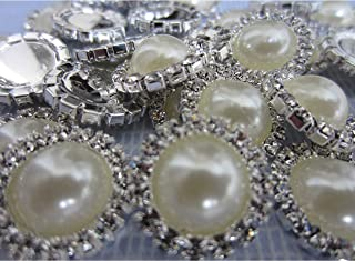 Flat Back Rhinestone Buttons – LeBeila Flatback Embellishments 15 MM Crystal Pearl Fabric Sewing Fasteners Glue On Metal Accessories for Craft, Wedding Dress & Clothing Decorations (10 pcs, Beige)