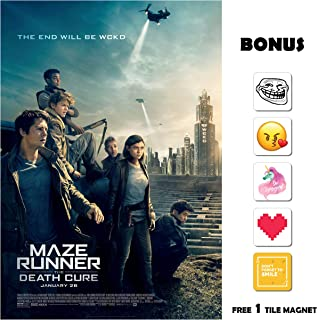 Movie Poster Maze Runner: The Death Cure (2018) - WCKD - 13 in x 19 in Flyer Borderless + Free 1 Tile Magnet