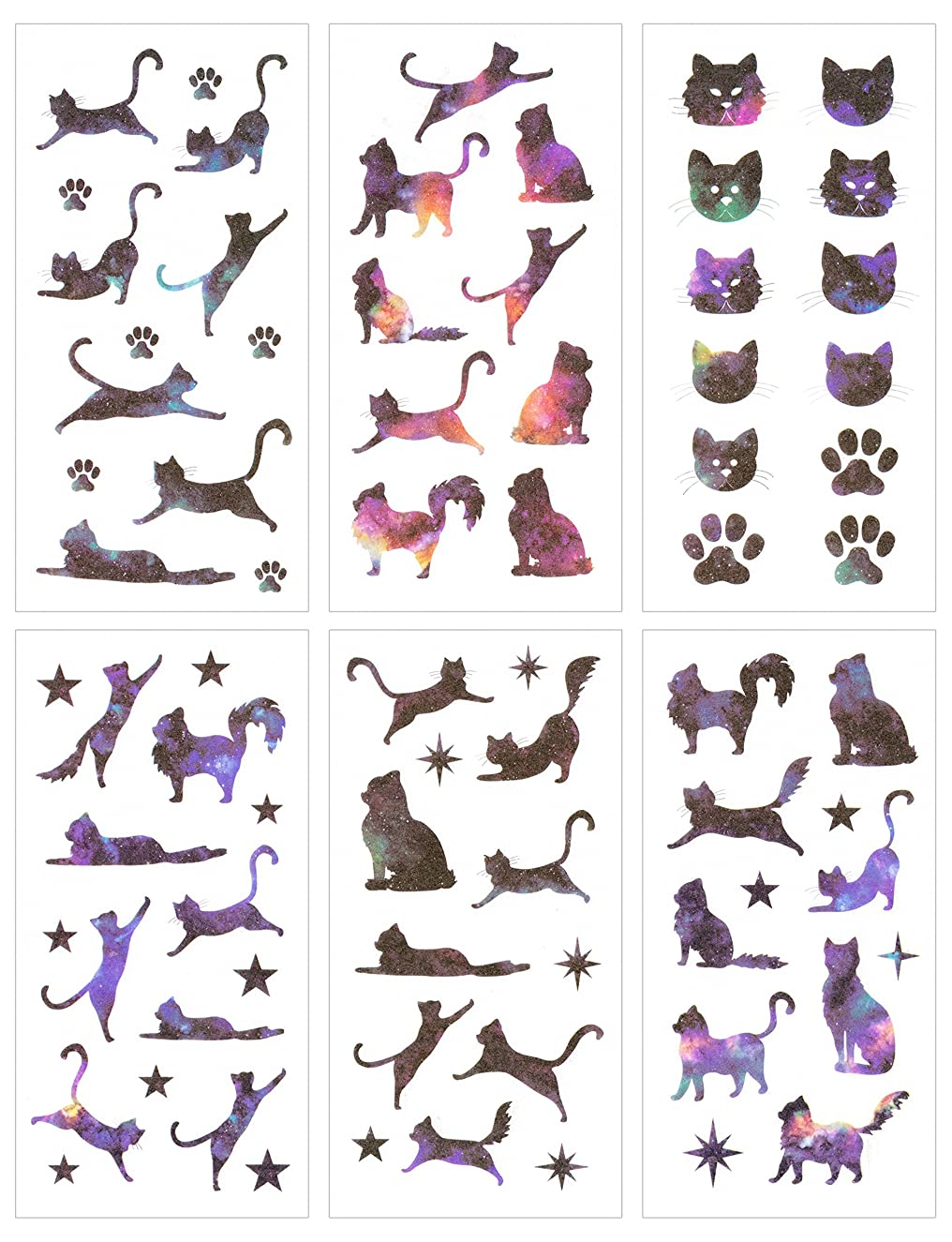 Cute Funny Cat Theme Washi Planner Sticker, Decorative Adhesive Sticker, Craft Scrapbooking Sticker Set for Diary, Album, Notebook, Bullet Journal, 12 Sheets/Pack(Star Cat)