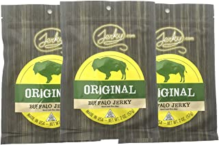Jerky.com's Original Buffalo Jerky - Bulk 3 Pack - Best Wild Game Bison Jerky, 15g of Protein, All-Natural Keto Diet Snack, No Added Preservatives, 5.25 oz Total