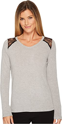 Ivanka Trump - Long Sleeve Knit Sheer Shoulder Tee