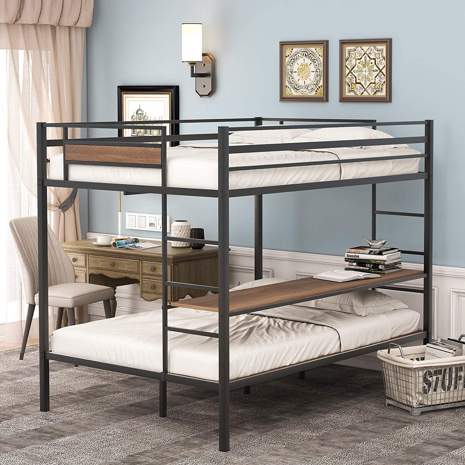 Buy Metal Bunk Bed Full Over Full Twin Bunk Bed Frame Heavy Duty Space Saving Design Easy Assembly With Safety Guard Rails Side Ladder For Adults Children Teens Full Over Twin Full Online In Vietnam B096jy1htr