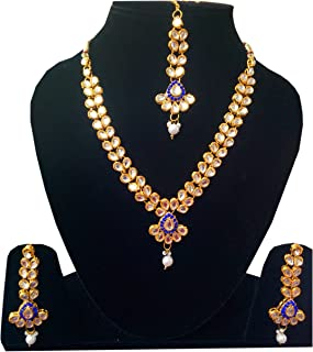 Designer India Kundan Stone Studded Gold Plated Necklace Sets with maang Tika for Women
