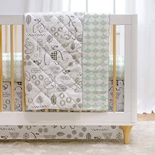 Lolli Living 4-Piece Baby Bedding Crib Set with Kayden Elle Elephant Pattern. Complete Set with Quilt, 2 Fitted Sheets, and Bed Skirt (Grey and Mint)