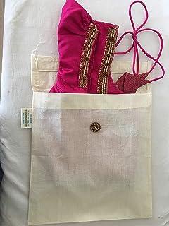 Noyyal Go Green (Black Buck) Reusable Cotton Silk Saree Blouse Covers, Set of 5 (10X10 inches) …