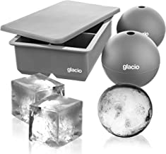 glacio Ice Cube Molds - Jumbo Square Cube Tray with Lid and 2 Large Sphere Molds