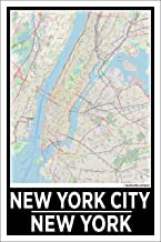 Spitzy's New York City New York 12 by 18 Inch City Map Poster, Home Wall Art Printed Bedroom Decoration, Big Apple
