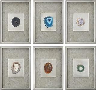 MY SWANKY HOME Elegant Agate Stone Slice Wall Art Set 6 Silver Champagne Framed Shadow Box