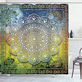 Ambesonne Ethnic Shower Curtain, Mystic Mandala Culture Chakra Karma Calmness and Harmony Boho Design, Cloth Fabric Bathroom Decor Set with Hooks, 70
