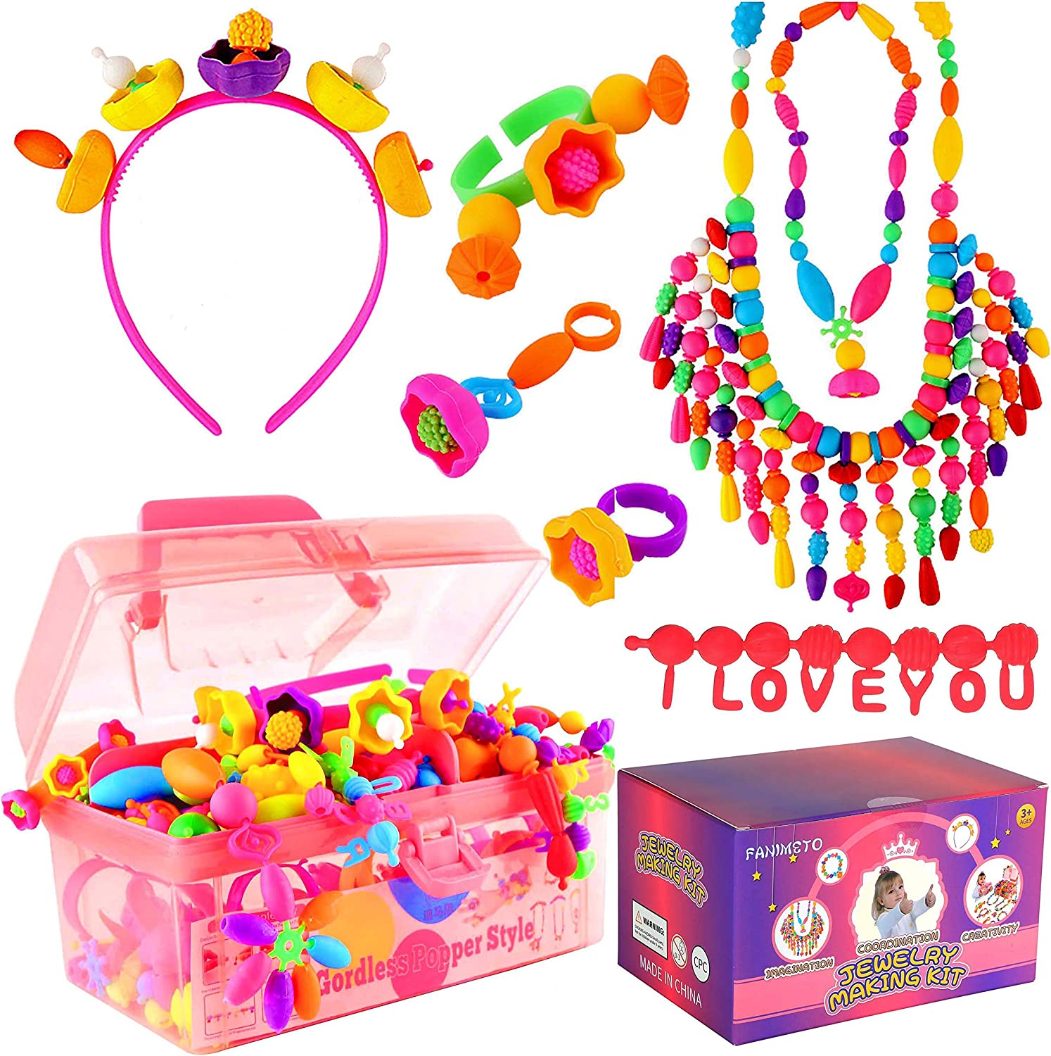FANIMETO 630+pcs Pop Beads Jewelry Max 46% OFF Making Free shipping anywhere in the nation Snap Bead for Kit Kids
