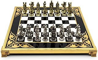 Helcee Handmade Troy Metal Chess with Elegant Wooden and Metal Board