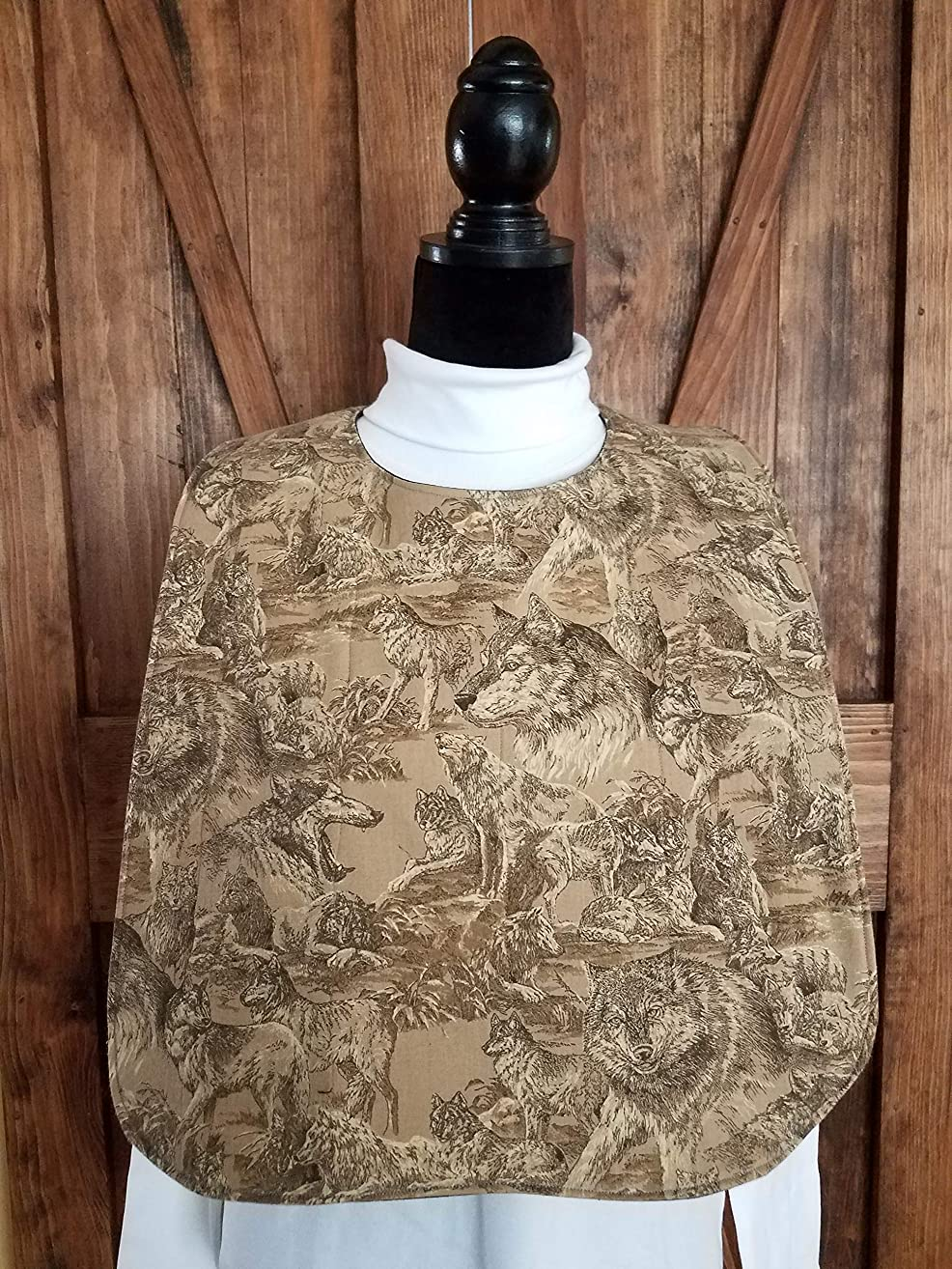Wolves Adult Quilted Reversible Bibs - Special Needs - Clothing Protector