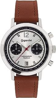 Men's Quartz Watch Tramelan Chronograph Vintage Design Analog Leather Strap Silver Brown G10-004