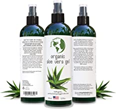 Aloe Vera Gel - 99.75% Organic, 12 oz Great for Face, Hair, Acne, Sunburn, Bug Bites, Rashes, Eczema