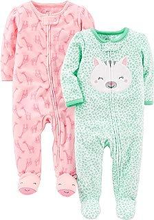 Baby Girls' 2-Pack Fleece Footed Sleep and Play