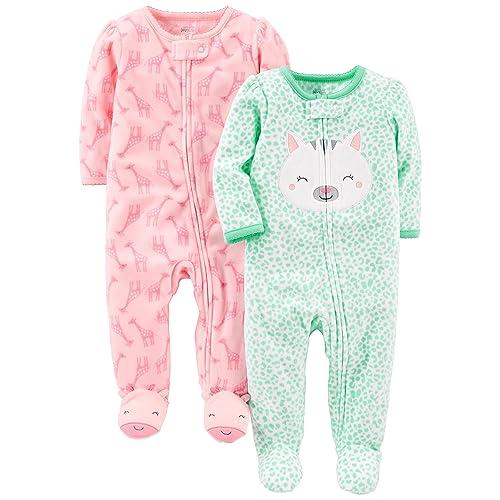 0e73320df7a6 Simple Joys by Carter's Baby Girls' 2-Pack Fleece Footed Sleep ...