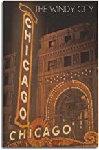 Lantern Press Chicago, Illinois - The Windy City - Chicago Theatre (10x15 Wood Wall Sign, Wall Decor Ready to Hang)