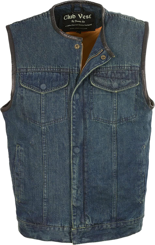 Club Vest MEN's Collarless Denim with Hidden