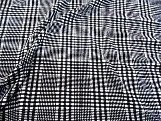 Fabric Printed Liverpool Textured 4 Way Stretch Glen Plaid Black White H201