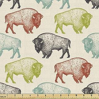 Lunarable Bison Fabric by The Yard, Vintage Style Wildlife Theme Colorful American Buffalos Illustration, Decorative Fabri...