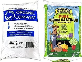 Wiggle Worm Castings + Blue Ribbon Organic Compost OMRI Combo (55-Pound)