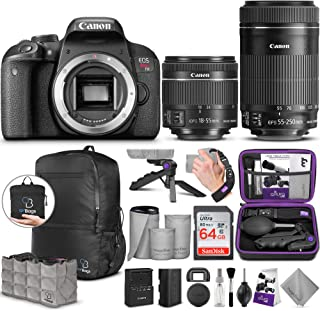 Canon EOS Rebel T7i DSLR Camera with 18-55mm is STM and 55-250mm Lens with Altura Photo Advanced Accessory and Travel Bundle