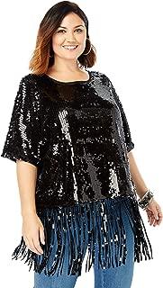 Women's Plus Size Sequin Fringe Tee