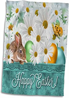 3D Rose White Daisies with A Bunny and Colored Easter Eggs in Spring Blues and Greens Towel, 15
