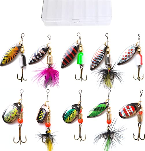 kingforest 5-10-20pcs Fishing Lures Spinnerbait for Bass Trout Salmon Walleye Hard Metal Spinner Baits Kit with Tackle Box