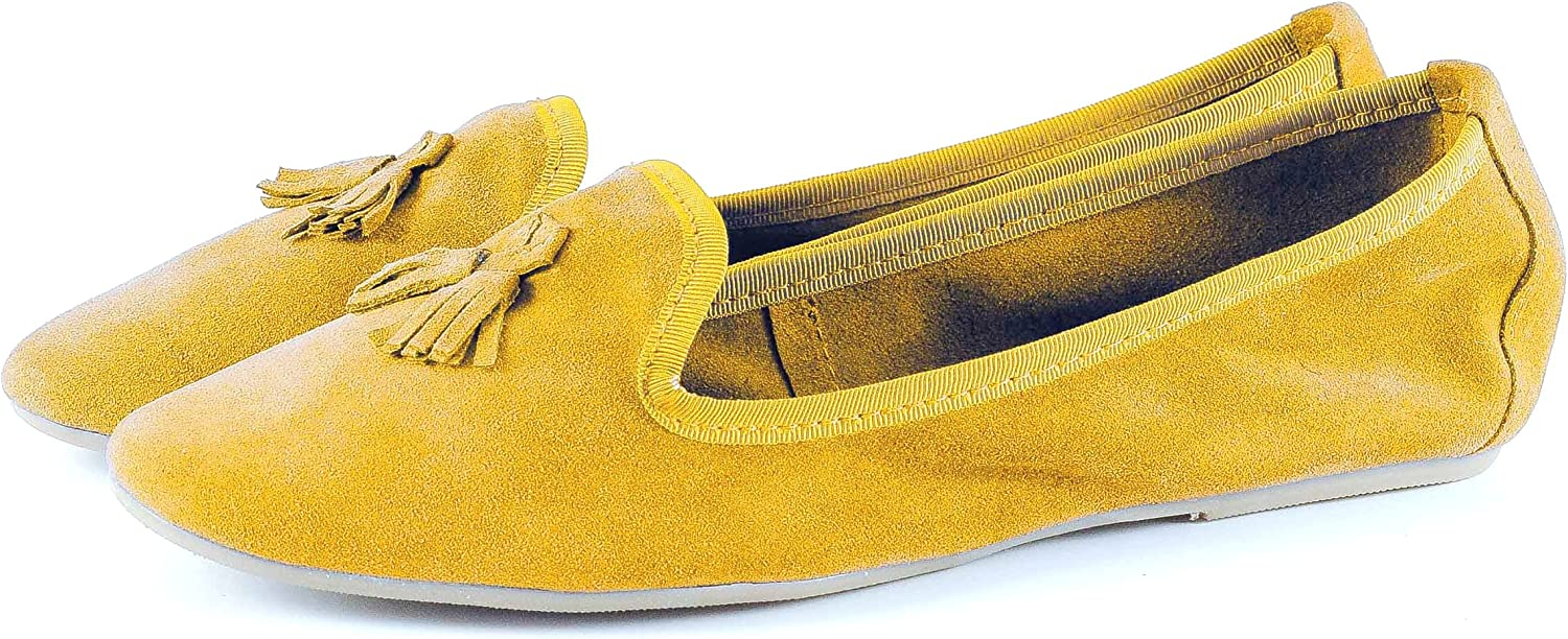Women's Ballet Flat - Slip on - Women's shoes, Real Suede -Silfershoes - Made in  - Yellow Mustard color