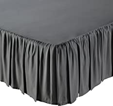 AmazonBasics Ruffled Bed Skirt, 16 Inch Skirt Length, King, Dark Grey