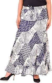 COTTON BREEZE Women Midi Skirt (FP551_Multicolored_Free Size)