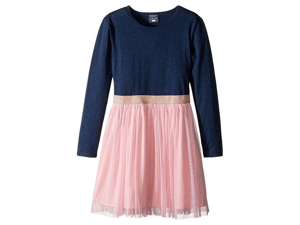 Toobydoo Tulle Party Dress (Toddler/Little Kids/Big Kids) (Heather Blue/Pink Tulle) Girl