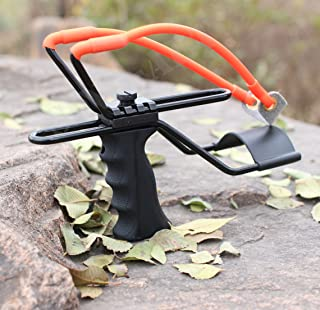 SinoArt High Velocity Adjustable Stainless Rocket Slingshot Profesional Outdoor Powerful Catapult Slingshot With Quality Rubber Bands