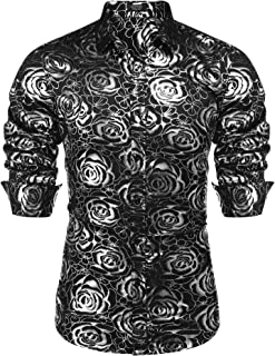 Men's Luxury Rose Gold Shiny Flowered Printed Stylish Button Down Shirt
