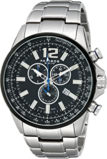 Akribos XXIV Men's Swiss Quartz Chronograph Watch - Beveled Bezel With Tachymeter Scale - Black Matte Dial - Luminous Hands and Markers - Silver Stainless Steel Bracelet Strap - AK619