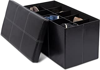 BirdRock Home Storage Ottoman Bench with Shoe Storage - 31.5 x 16 - Strong and Sturdy - Upholstered Cushioned Seat - Shoe Organizer Shoe Rack Foot Stool - Black