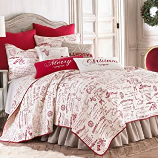 Levtex Noelle Twin Quilt Set, White/Red Script, Cotton Christmas Holiday