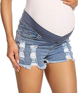 V VOCNI Women's Distressed Maternity Denim Shorts Frayed Raw Hem Ripped Casual Maternity Jeans Short