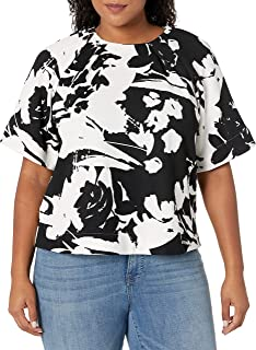 Joan Vass Women's Plus Size Printed Pique Top